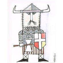 Original ACEO pen and ink/watercolor drawing of a viking after a drawing by Pi