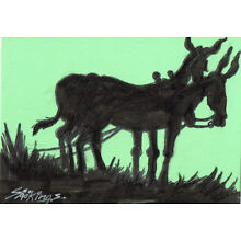 Original ACEO pen and ink/watercolor drawing of a team of mules