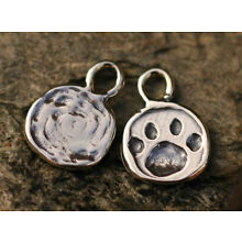 Paw Print Charm in Sterling Silver, Dog Paw Print, CH-190