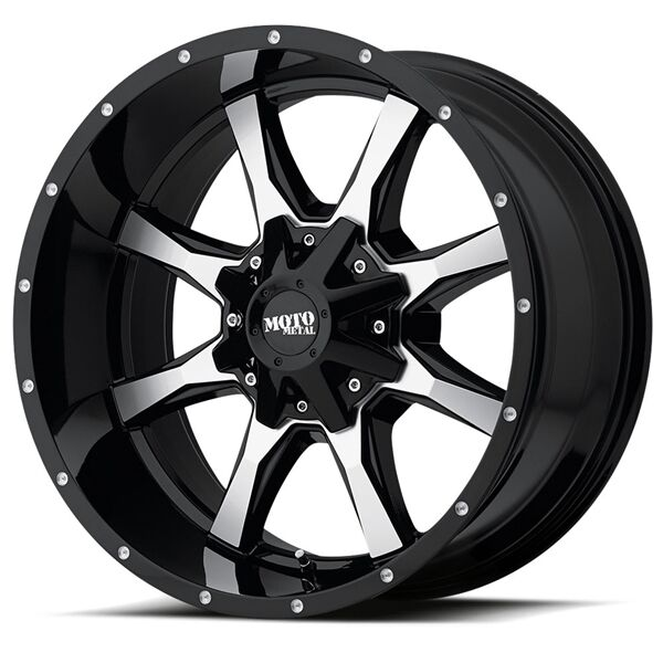 20 Inch Black Silver Rims Wheels Lifted Ford F150 Truck Moto Metal