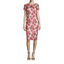 David Meister Floral Embroidered Lace Sheath Cocktail Dress, Size 0