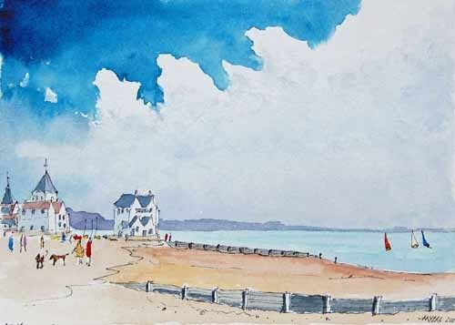 Whitstable Beach The Old Neptune Watercolour Artist Doug Myers PRINT 1249