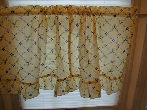 Details About Pfaltzgraff Sicily 30L Ruffled Tier CurtainsCotton BlendDining RoomMulti Col
