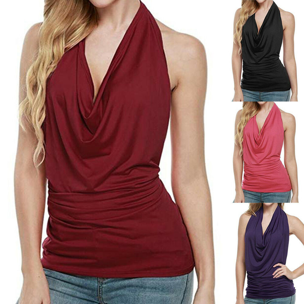 Women Ruched Halter Cowl Neck Tank Blouse Backless ...
