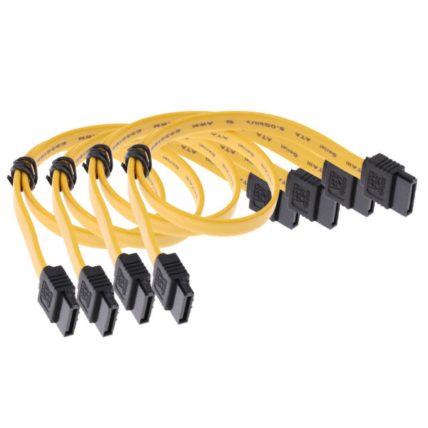 4x SATAIII Data Drive Cable 6.0Gbps With Locking Latch 11.8''/30cm Straight