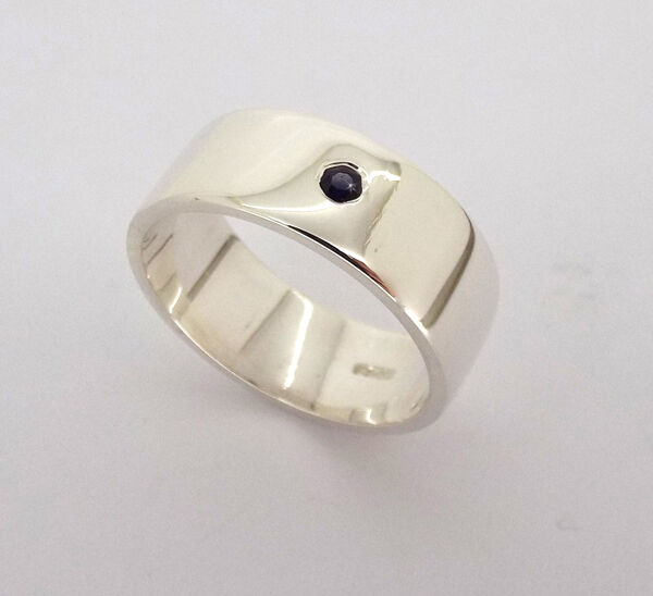 Mens Sapphire Wedding Band | Men S Sapphire Wedding Ring Gents Solid Sterling Silver Wedding Band