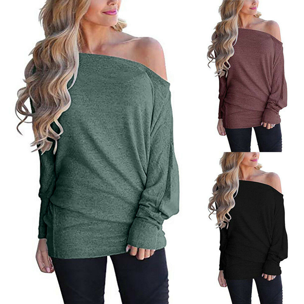 2a2c35f45 Women Off Shoulder Loose Pullover Sweater Batwing Sleeve Knit Jumper ...