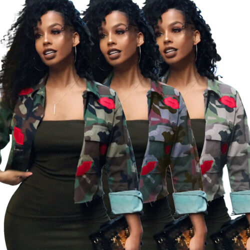 US Ladies Camouflage Lip Print Military Army Lapel Short Jackets Coats Outwear