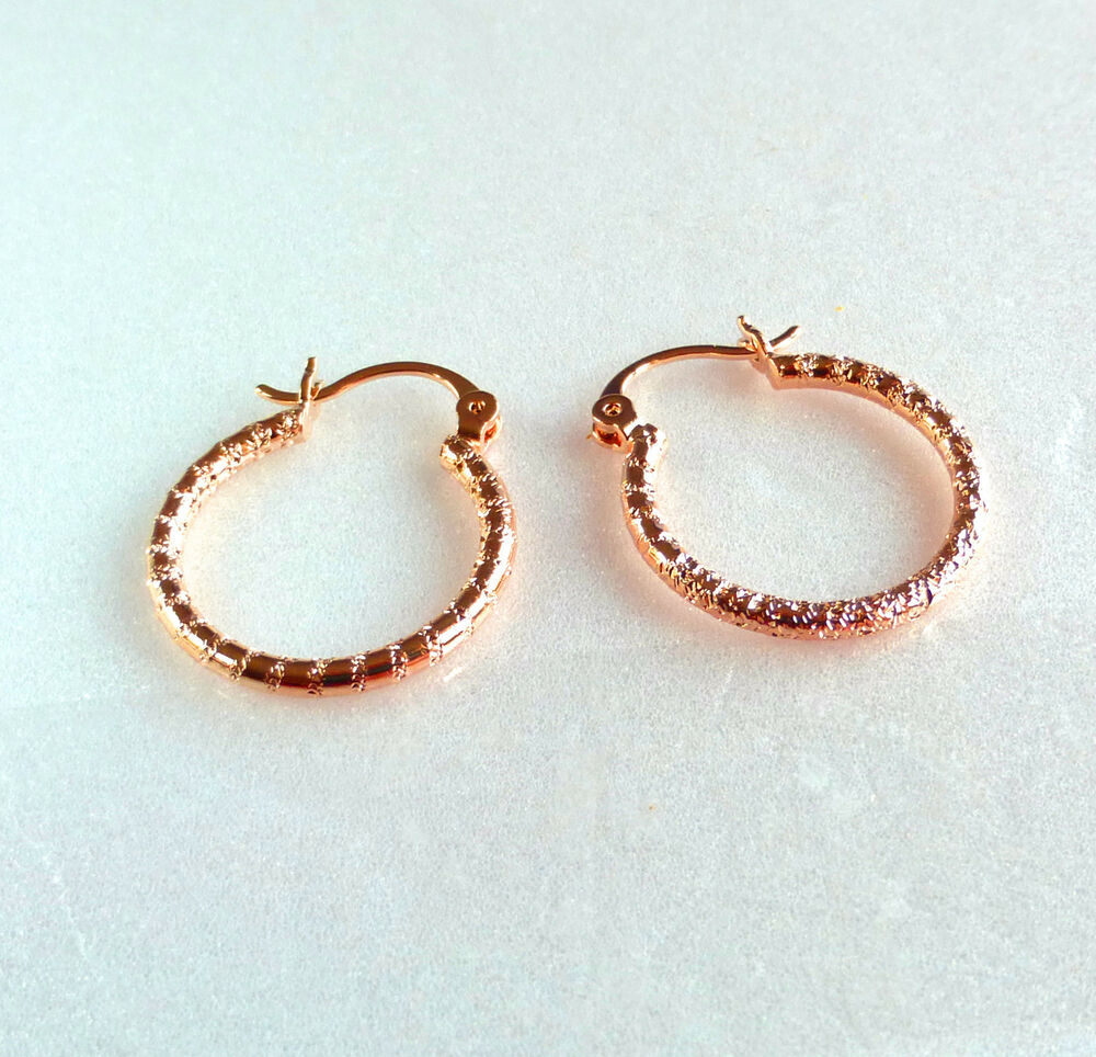 Details About Creole Sparkling Hoop Earring 18k Gold Plated 24mm Snap Closure Uk