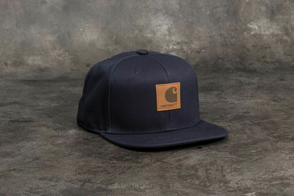 6cb7725baf3 Details about Carhartt Wip Logo Snapback Watch Hat Dark Navy Cap Streetwear  Green Backley