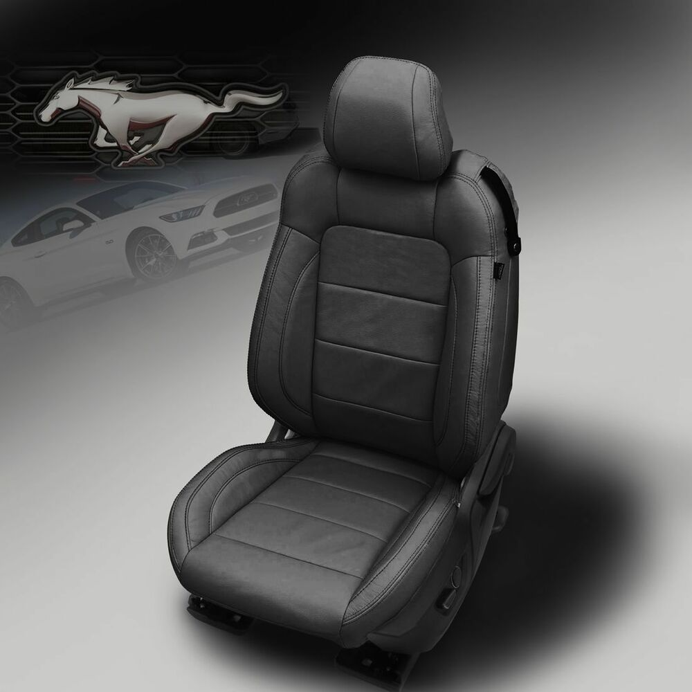 Details about 2015 2019 ford mustang gt v6 eco coupe katzkin black leather seat covers kit