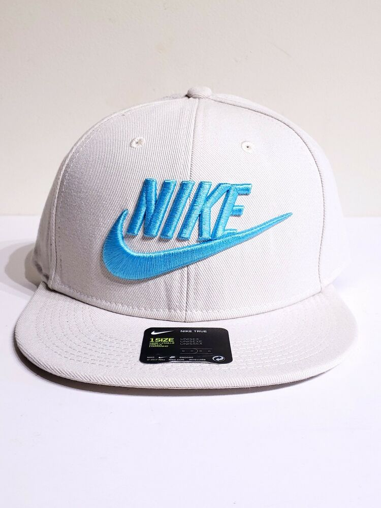 Details about Nike True Snapback Embroidered Logo Hat Futura Mens Cap  584169-072 Biege Blue 82f4b32c703