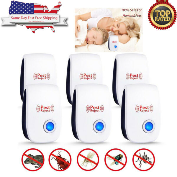 6 Pack Ultrasonic Pest Repeller Electronic Control Repellent Mice Rat Reject USA