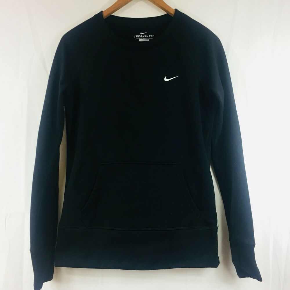 01f5f87e Details about Womens Nike Therma-Fit Black Pullover Sweatshirt Long Sleeve  Size S Thumb Holes