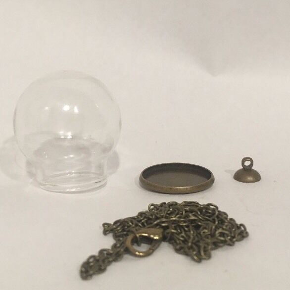 Diy Snowglobe Glass Terrarium Necklace Pendent Kit Antique Brass