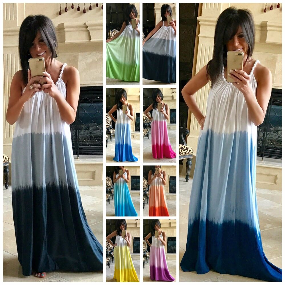 fd006ac0573 Details about BEACH GYPSY Boho Ombre Tie Dye Super Flowy Maxi Dress or  Cover Up 9 COLORS S-XL