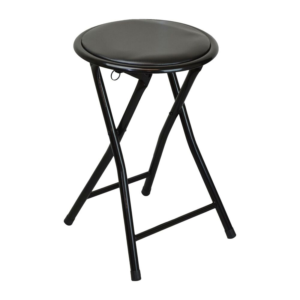 Round Folding Padded Stool Office Kitchen Breakfast