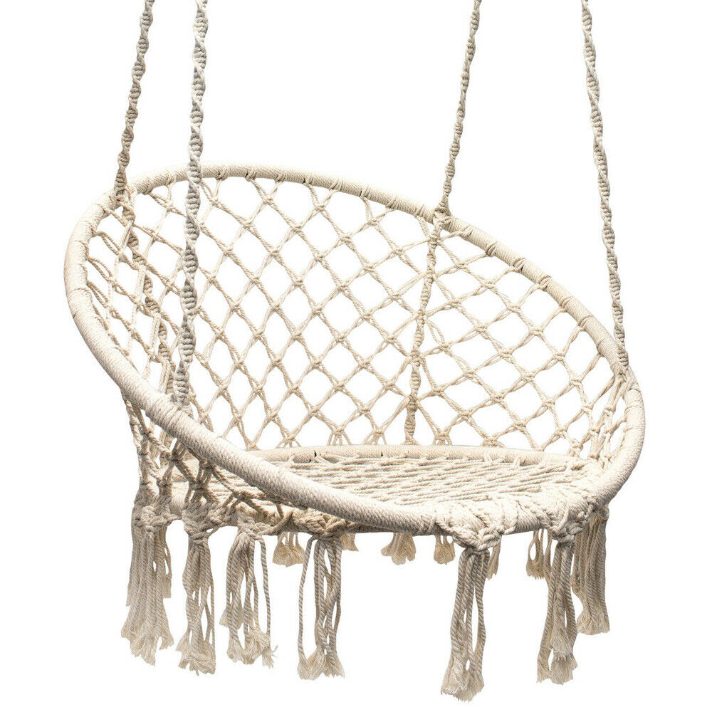 Details About Hanging Macrame Hammock Chair Cotton Woven Rope Swing Chair  Seat Black / Beige