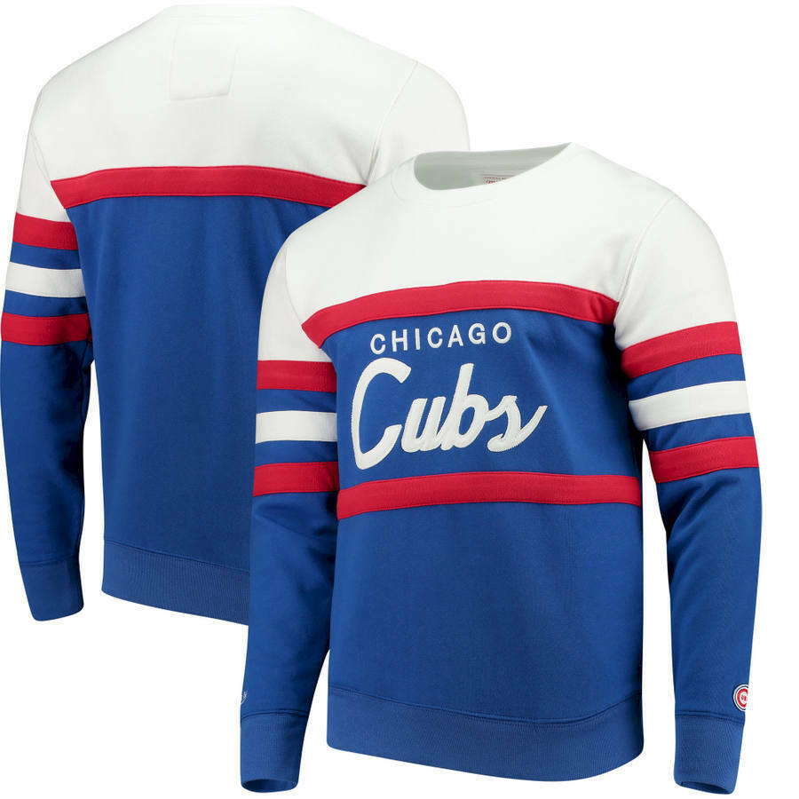966c93aca43c8 Details about New Chicago Cubs MLB Mitchell And Ness Crew Head Coach  Sweatshirt  100 Retail