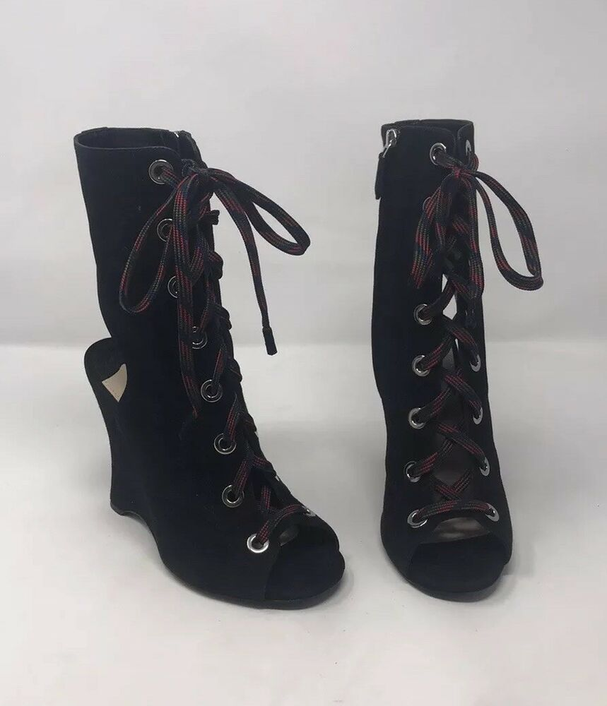 cc9f62ae097a Details about Prada Black Suede Lace up Booties Boots Shoes Open Toe Runway Sz  36 NIB
