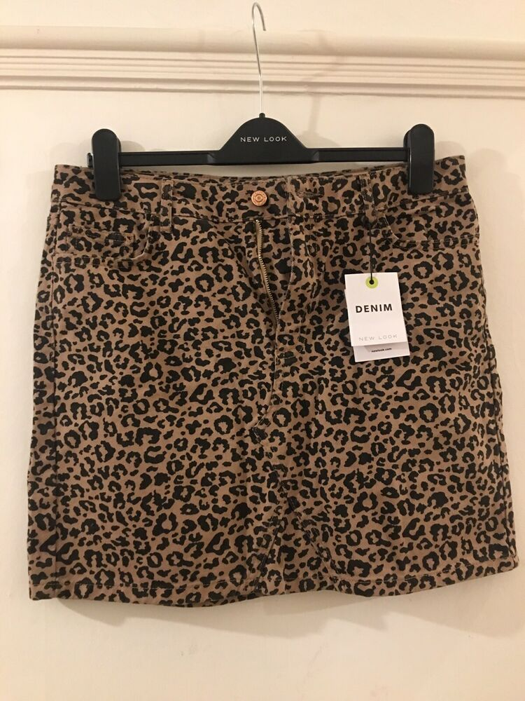 3fa221b422 Details about NEW LOOK Sold Out Leopard Print Mini Denim Skirt