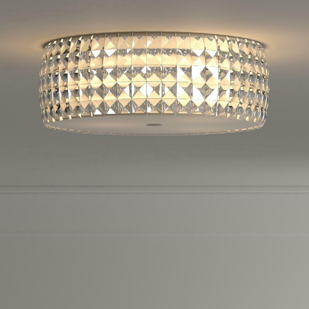 Details about home decorators collection 14 in 5 light chrome flushmount with glass accents