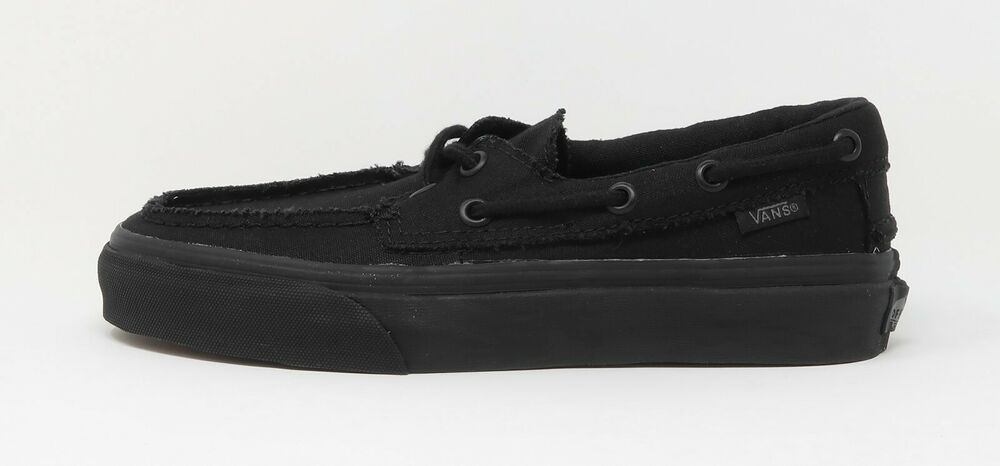 72b2bd10ca20 Details about VANS Zapato Del Barco Boat Shoes All Black Canvas Women  Sneakers VN-0XC3186