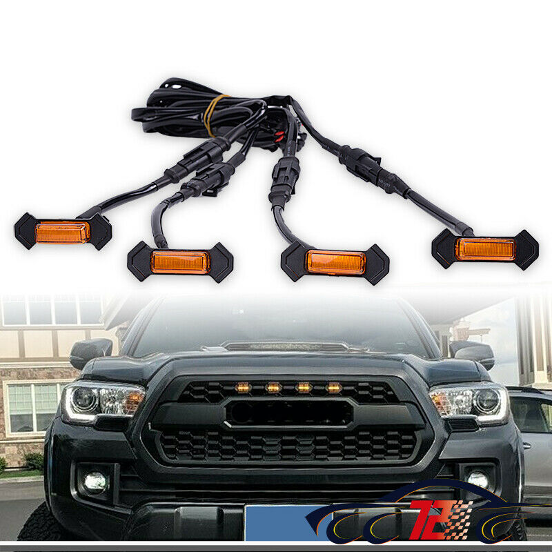 4Pcs Grill LED Lights W/ Wires For Toyota Tacoma 2016-2019