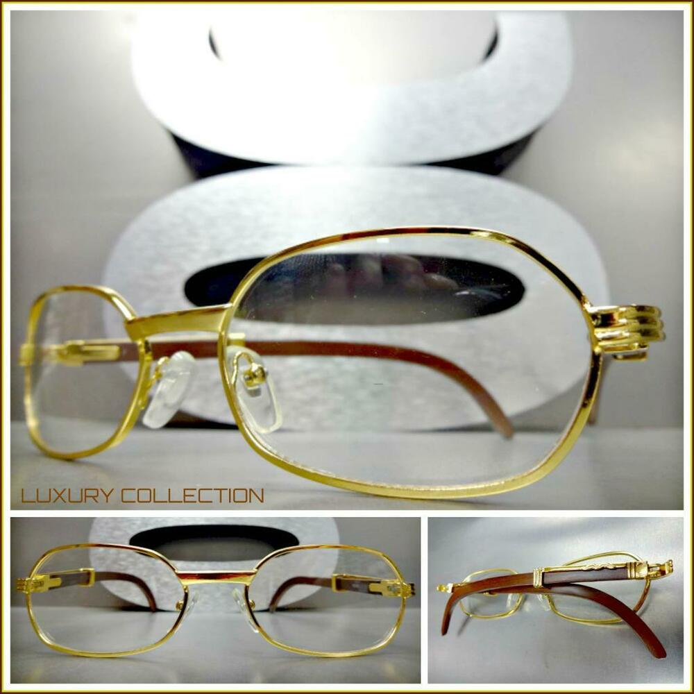 c253f6ce6c5e Details about Mens Sophisticated UPSCALE LUXURY Fashion Clear Lens EYE  GLASSES Gold Wood Frame