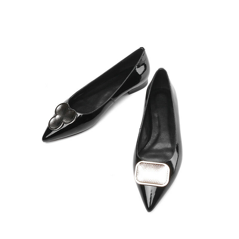 c61adaf3039a90 Details about Shiny Womens Patent Leather Pointed Toe Flats Rhinestone Slip  On Casual Boots