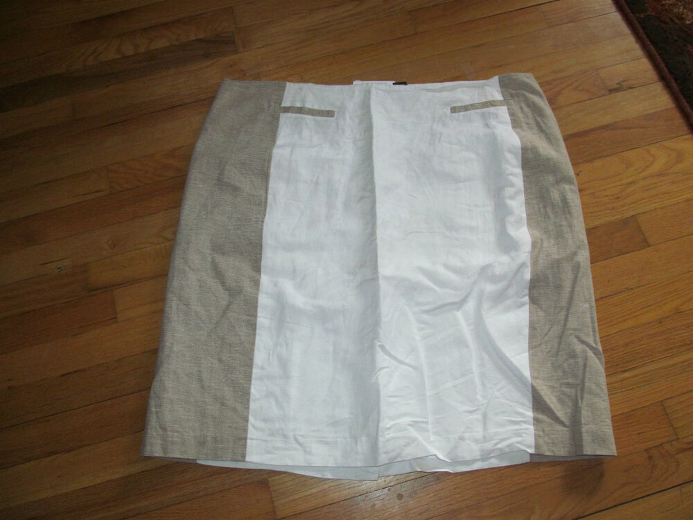 8cc77e47fae2f Details about Women s Ashley Stewart White   Tan 55% Linen Skirt W  Lining  Size 22W 26W NWOT