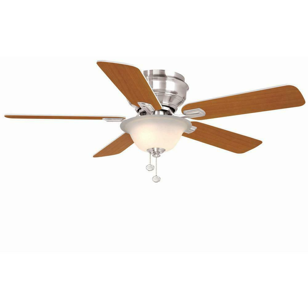 Details about hampton bay hawkins 44in brushed nickel ceiling fan blades not included