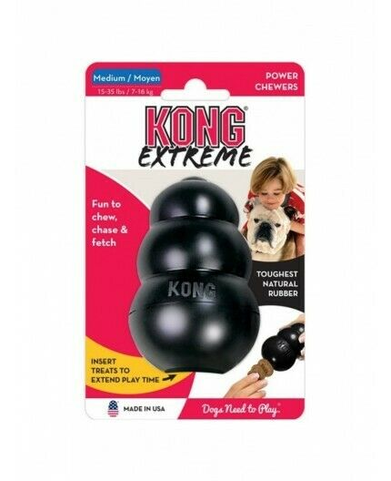 KONG EXTREME RUBBER TOY BLACK MEDIUM CANE GIOCO IN GOMMA SUPER RESISTENTE MEDIO