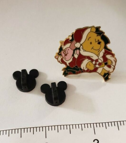 Winnie the Pooh and Piglet` Christmas Pin ~ Gold Tone Pendant*** Disney~