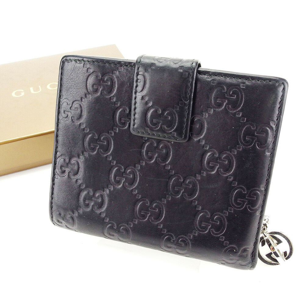 e1fcc978c306 Details about Gucci Wallet Purse Guccissima Black Silver Woman unisex  Authentic Used T3488