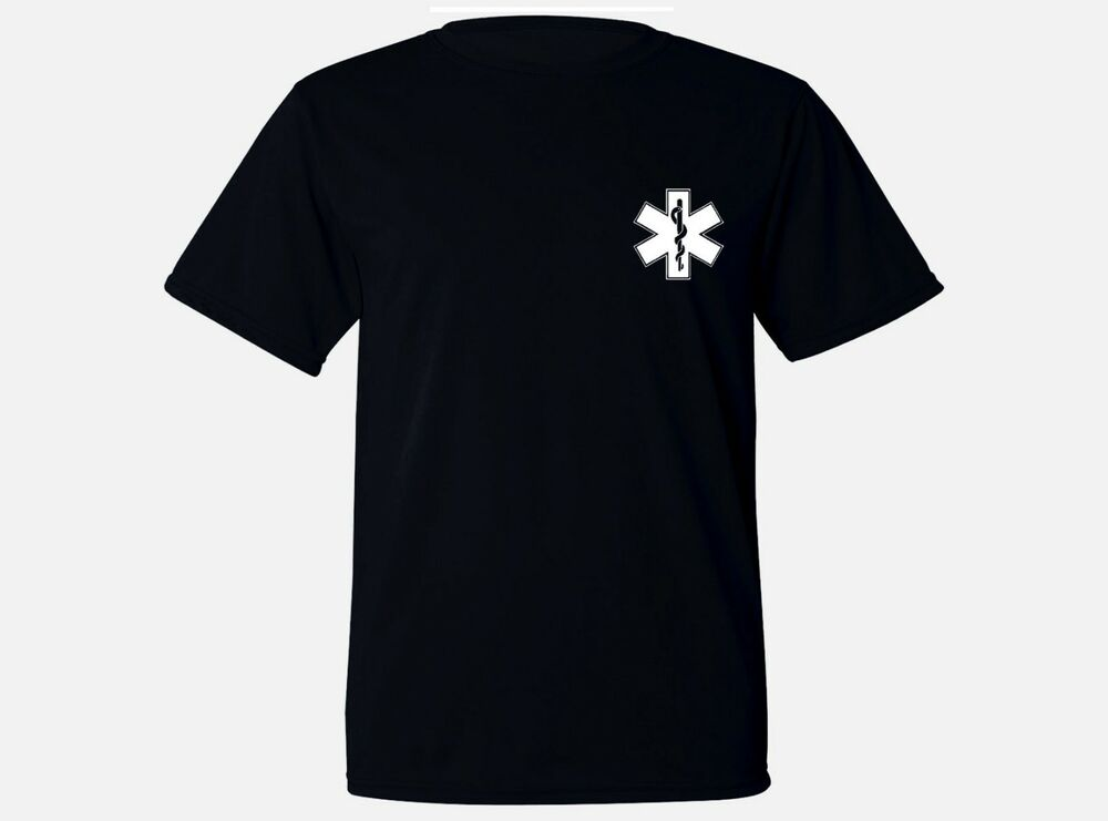 8a029837 Details about Paramedic symbol medic gifts moisture wicking polyester  workout black tee shirt