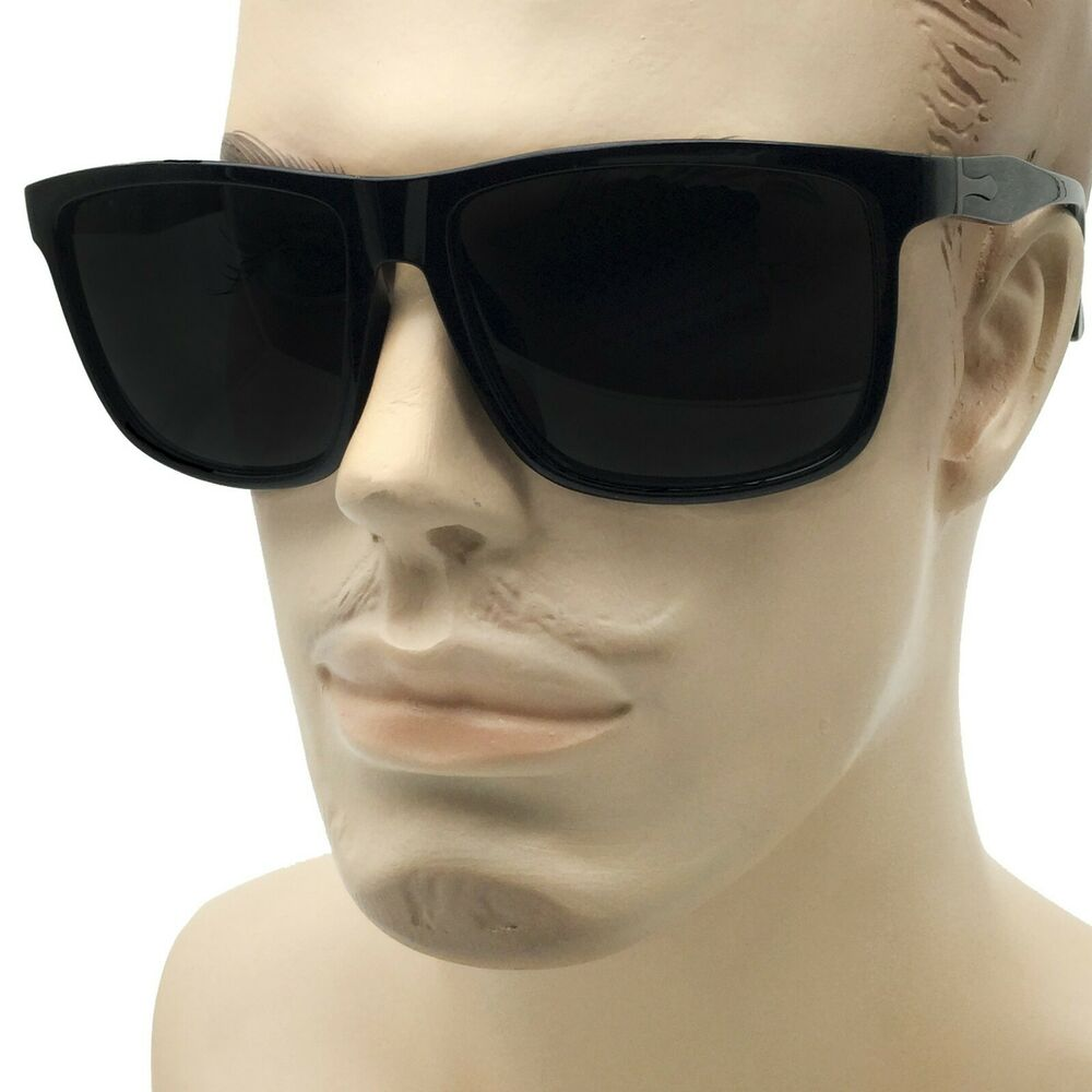 97ac9695964a0 Details about XXL Men s Thin Frame Sunglasses Extra Wide Frame Black Large  Oversized Dark Lens