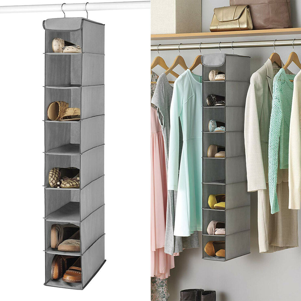 Details About Shoe Shelves E Saver Hanging Storage Closet Organizer Hanger Rack Gray