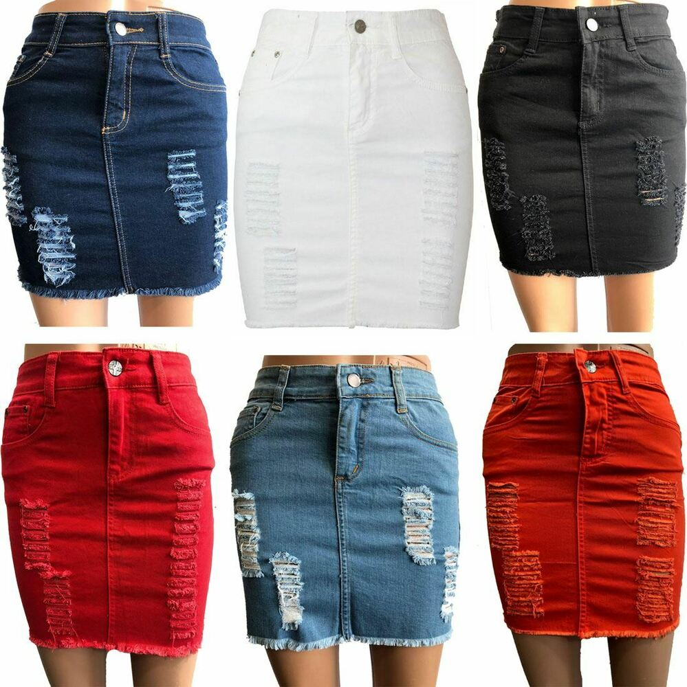 e006442e4d Details about Ladies Denim Ripped Distressed Skirt Womens Raw Edges Faded  Bodycon Mini Skirt