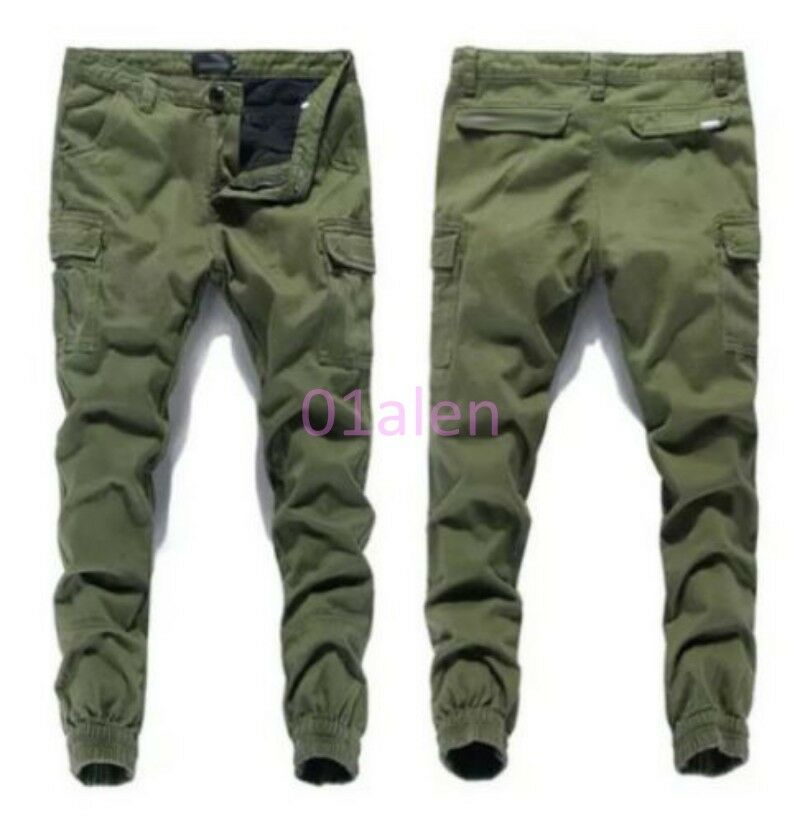 312cff4a470b Details about Vogue Mens Skinny Leisure Cargo Overalls Baggy Casual Pants  Trousers Pockets New