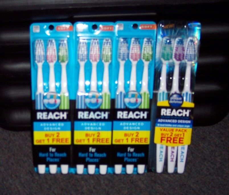 12 NEW REACH ADVANCED DESIGN TOOTHBRUSHES - FULL SOFT HEAD ...