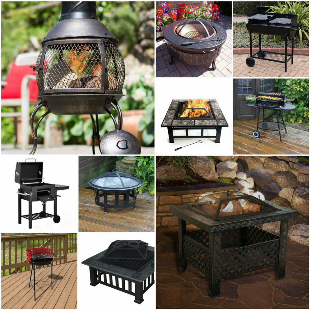 Details About Bbq Fire Pit Barbecue Grill Table Patio Outdoor Garden Log Burner Portable Steel