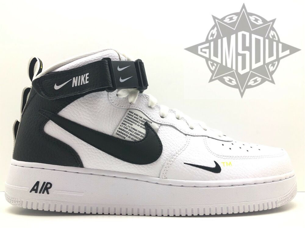 official photos de543 0f3c6 Details about NIKE AIR FORCE 1 MID 07 LV8 WHITE BLACK TOUR YELLOW 804609  103 sz 13
