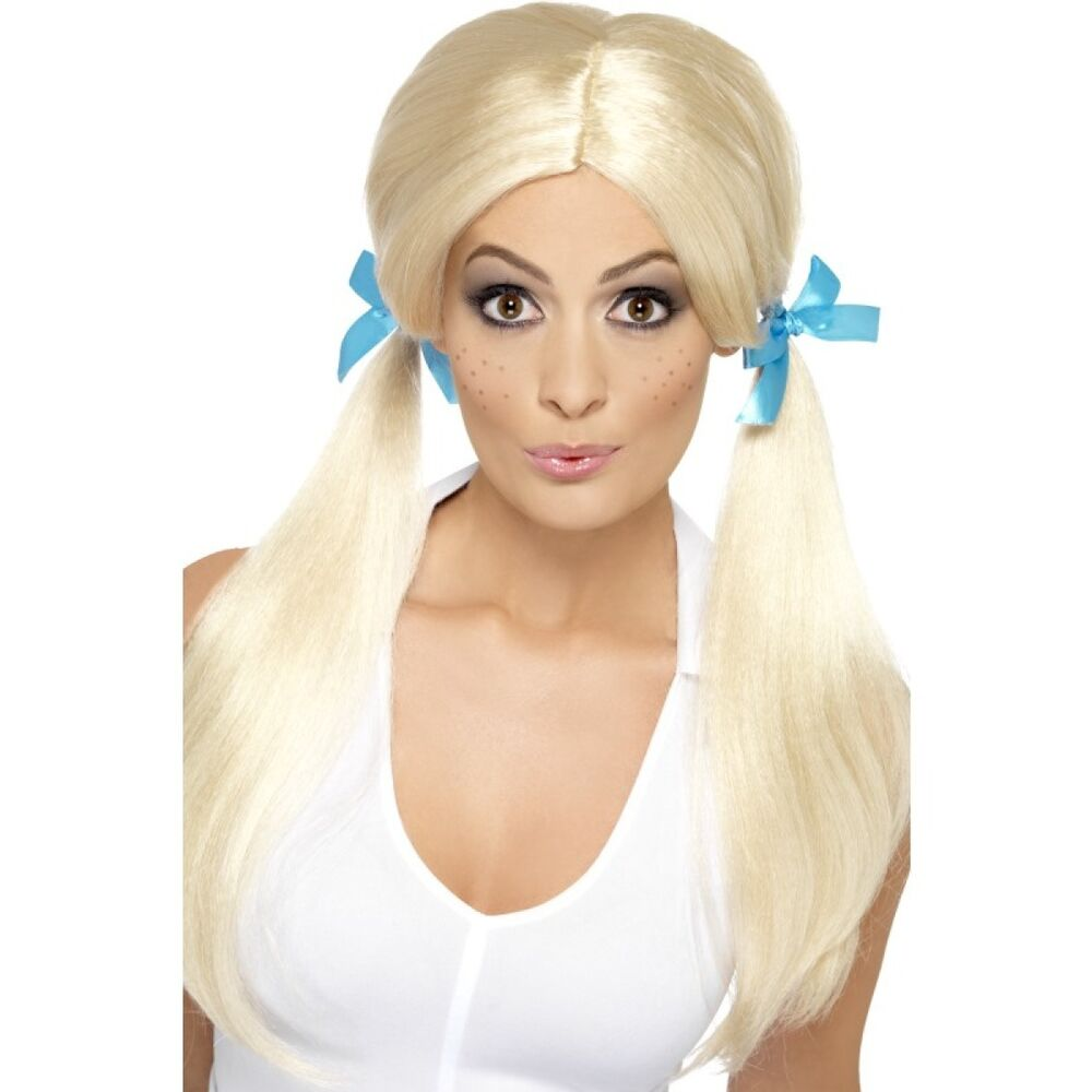 e232801bf9c Details about Womens Sexy Schoolgirl Wig Long Blonde Hair Blue Bows Pigtails  School Girl Adult