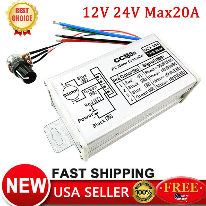 12V 24V 20A PWM DC Motor Stepless Variable Speed Controller Switch w/Metal  Shell   eBay