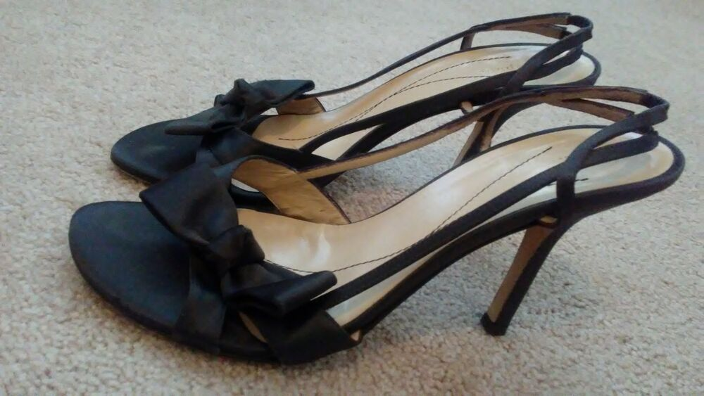 ed933c0813e0 Details about KATE SPADE Brown Satin Bow Heels Slingback Pumps Size 7.5 B  Made in Italy