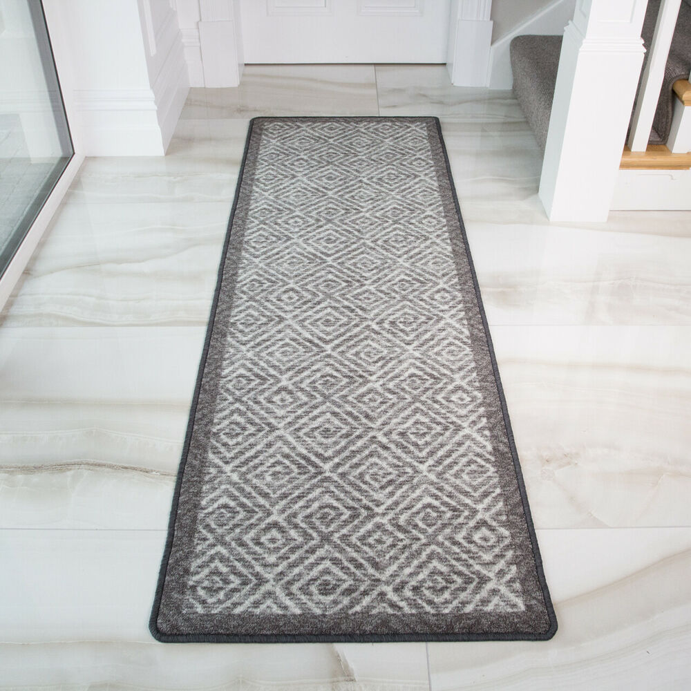 Details About Modern Geometric Grey Non Slip Kitchen Rug Mat Floor Small Large Runner Doormat