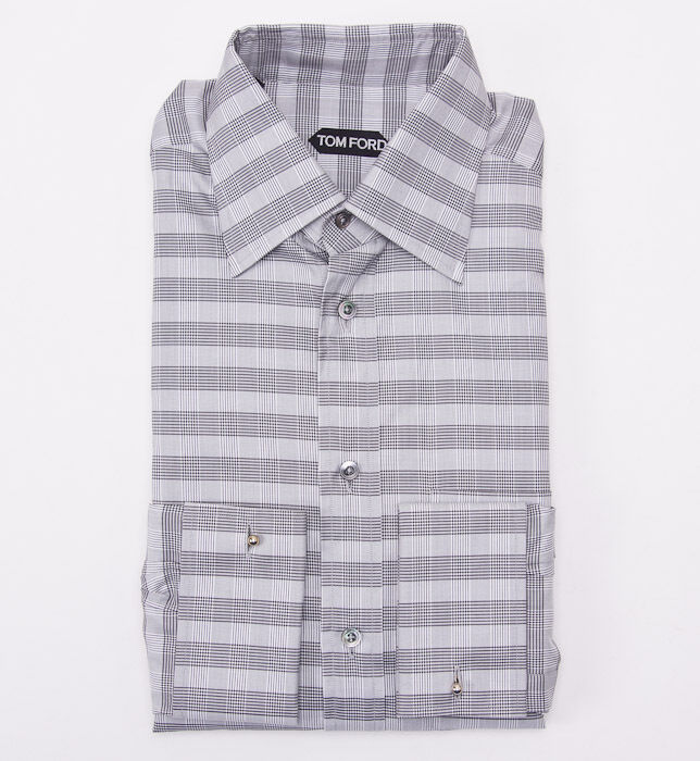 Shirts Clothing, Shoes, Accessories Regular Fit White With Black Check French Cuff Cotton Dress Shirt