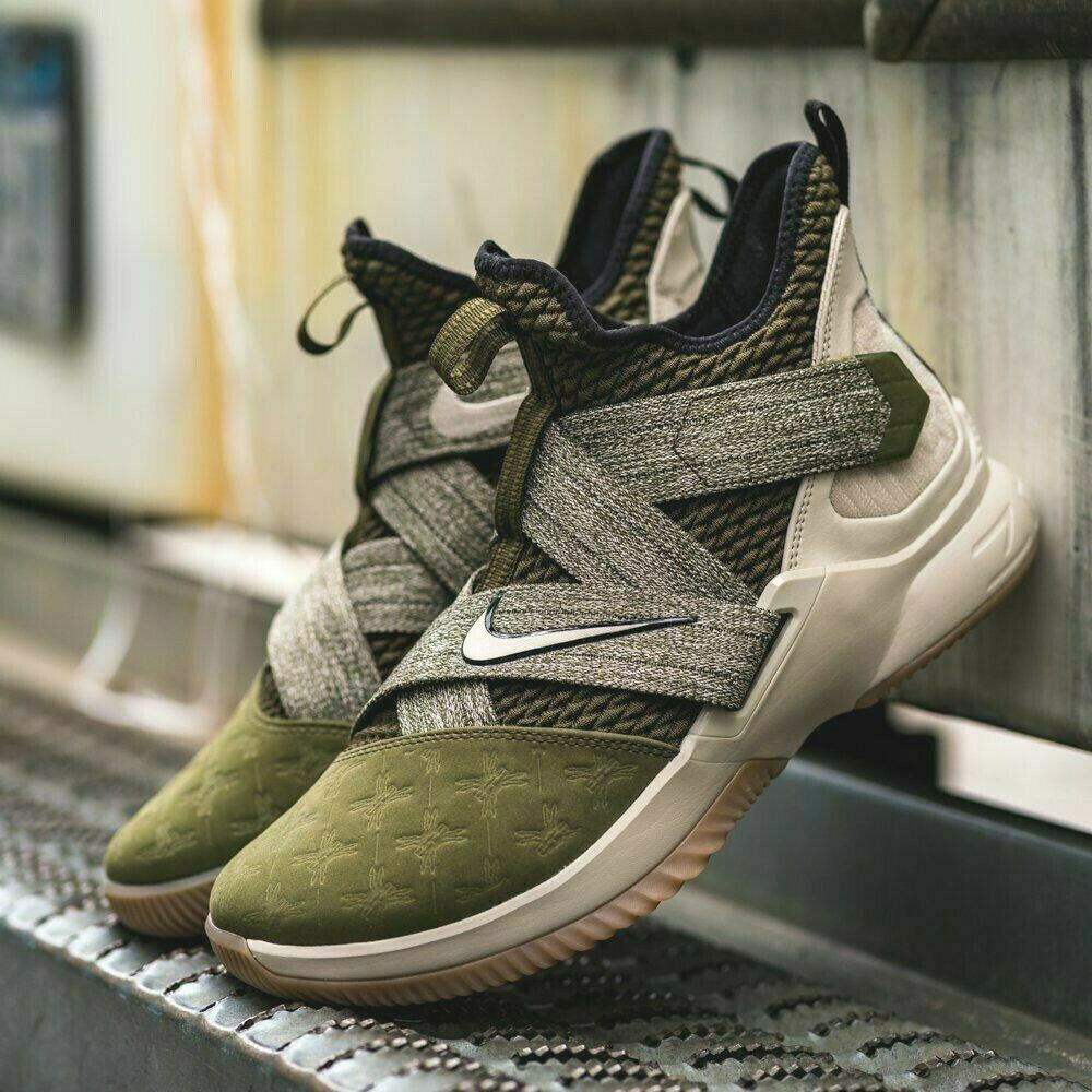 30c122c42b5 Details about Nike Lebron Soldier XII 12 Men s Basketball (8 - 13.5) Olive    Gum AO2609-300