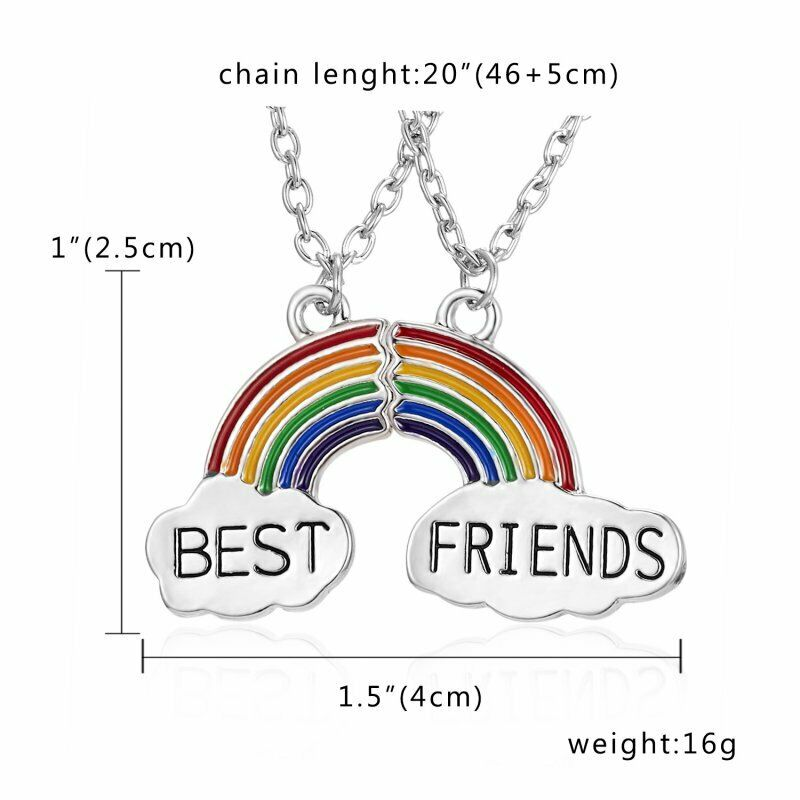 359e45c6f1 Details about 2Pcs Charm Crystal Heart Joint Necklaces Pendant Best Friend  Couple Jewellery